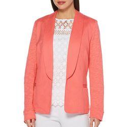 Rafaella Womens Long Sleeve Solid Mixed Media Blazer
