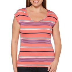 Rafaella Womens Striped Lace-Up Side Top