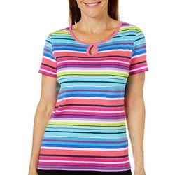 Rafaella Womens Striped Keyhole Short Sleeve Top