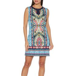 Rafaella Womens Mosaic Tile Zip Neck Shift Dress