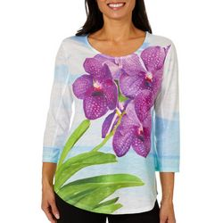 SunBay Womens Orchid Blooms Round Neck Top