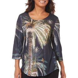 SunBay Womens Embellished Tropical Palm Tree Top