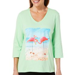 SunBay Womens Jolly Flamingos V-Neck Top
