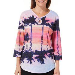 SunBay Womens Tropical Palm Tree Keyhole Top