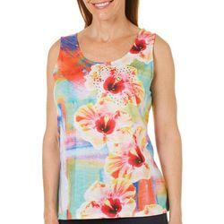 SunBay Womens Brushes & Hibiscus Tank Top