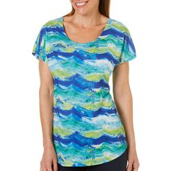 SunBay Womens Painted Waves Dolman Top
