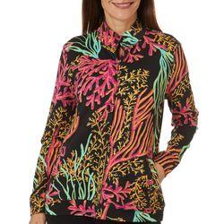 SunBay Womens Coral Kingdom Zip Up Long Sleeve Jacket