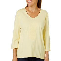 SunBay Womens Sequin Pineapple V-Neck Top