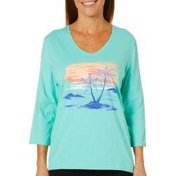 SunBay Womens Tropical Sunset V-Neck Top