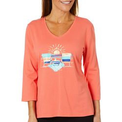 SunBay Womens Beachy Chairs V-Neck Top