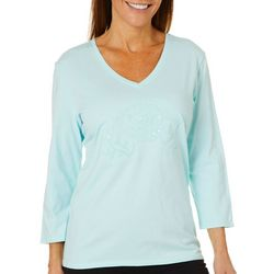 SunBay Womens Embroidered Fish Sequin Top
