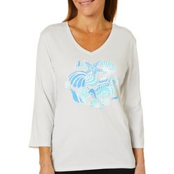 SunBay Womens Coastal Print V-Neck Top