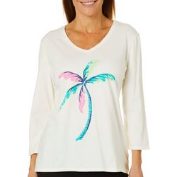 SunBay Womens Colorful Palm V-Neck Top