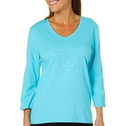 SunBay Womens Embroidered Hammock Sequin Top