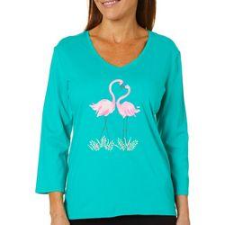 SunBay Womens Loving Flamingo V-Neck Top
