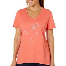 SunBay Womens Embellished Flip Flop Short Sleeve Top