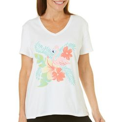 SunBay Womens Tropical Flamingo Short Sleeve Top