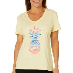 SunBay Womens Colorful Pineapple V-Neck Top