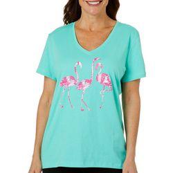 SunBay Womens Dancing Flamingos Print Top