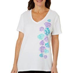 SunBay Womens Cascading Shells Print Top