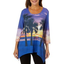 SunBay Womens Tropical Sunset Sharkbite Hem Top