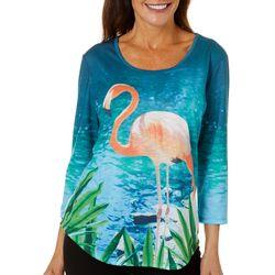 SunBay Womens Flamingo Round Neck Top
