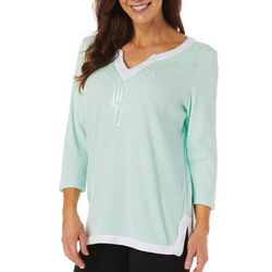 SunBay Womens Solid Sequin Embellished Neckline Tunic Top