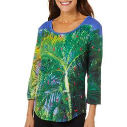 SunBay Womens Tropical Palm Tree Light Holiday Top