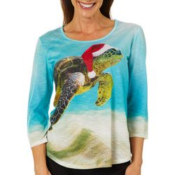 SunBay Womens Tropical Turtle Holiday Top