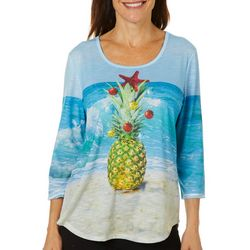 SunBay Womens Embellished Holiday Pineapple Round Neck Top