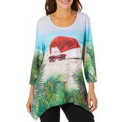 SunBay Womens Tropical Santa Hat Holiday Top
