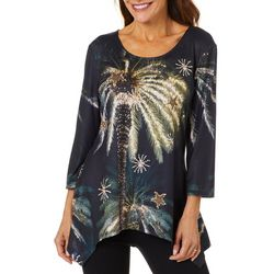 SunBay Womens Tropical Palm Tree Holiday Top