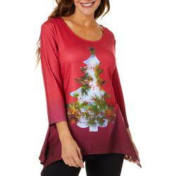 SunBay Womens Holiday Palm Tree Top