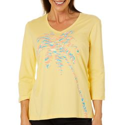 SunBay Womens Palm Tree Animal Print Top