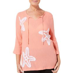SunBay Womens Tropical Starfish Gauze Top