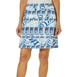 Coral Bay Energy Womens Tropical Leaf Stripe Print Skort