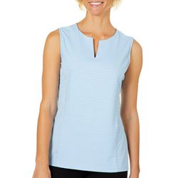 Coral Bay Energy Womens Stripe Split Neck Sleeveless Top