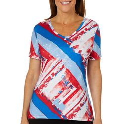 Coral Bay Energy Womens Splatter Stripe Print V-Neck Top