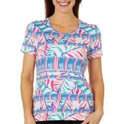 Coral Bay Energy Womens Tropical Leaf Stripe Top