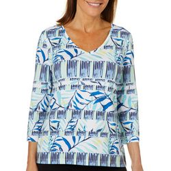 Coral Bay Energy Womens Tropical Leaf Stripe V-Neck Top