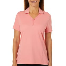 Coral Bay Energy Womens Solid Textured Short Sleeve Shirt