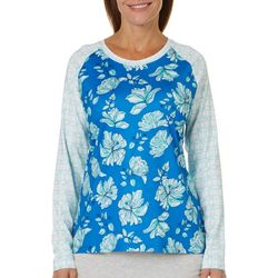 Coral Bay Energy Womens Mixed Floral Long Sleeve Top