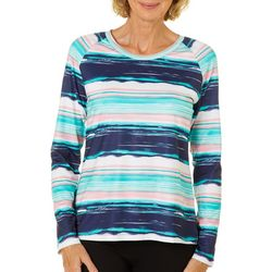 Coral Bay Energy Womens Faded Stripe Long Sleeve Top