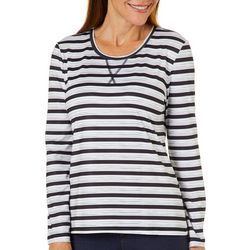 Coral Bay Energy Womens Mixed Stripe Long Sleeve Top