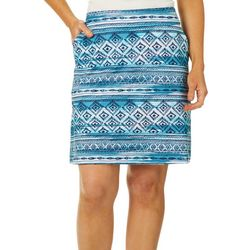 Coral Bay Energy Womens Geometric Striped Skort