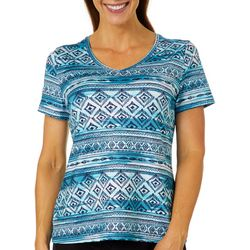 Coral Bay Energy Womens Geometric Stripe Short Sleeve Top