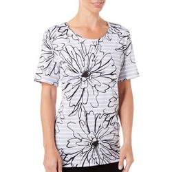 Coral Bay Energy Womens Floral Striped Short Sleeve Top