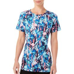 Coral Bay Energy Womens Tropical Flamingo Short Sleeve Top