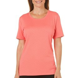Coral Bay Energy Womens Solid Textured Short Sleeve Top