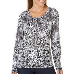Coral Bay Energy Womens Animal Print Long Sleeve Top